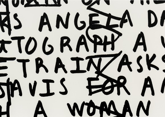 Adam Pendleton, A woman on the train asks Angela Davis for an autograph, 2016