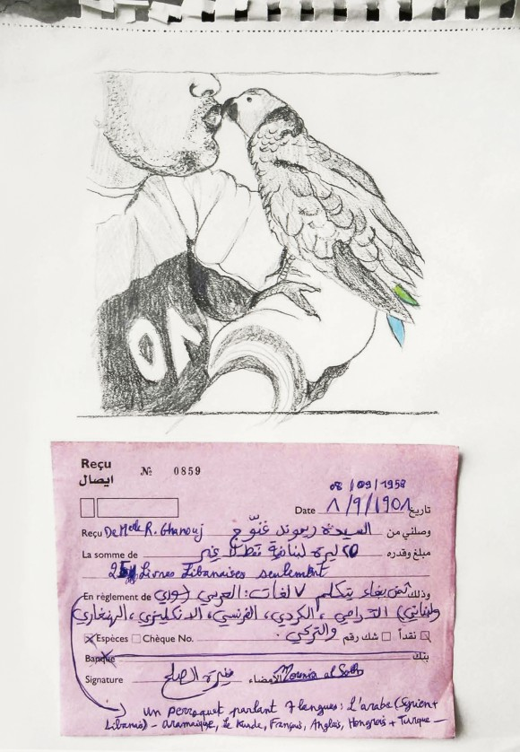Mounira Al Solh, I want to be a Party – Parrot sold by uncle, during the 1958 Revolution – With or Against Abdel Nasser?, 2016