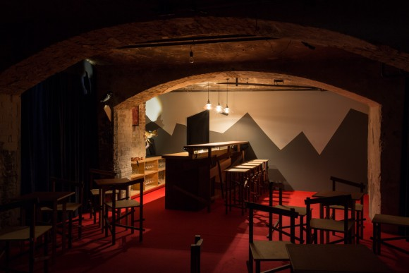 <p>Robert Wilhite, <em>Bob's Pogo Bar</em>, 2016; Installation view, KW Institute for Contemporary Art, Photo: Frank Sperling.</p>