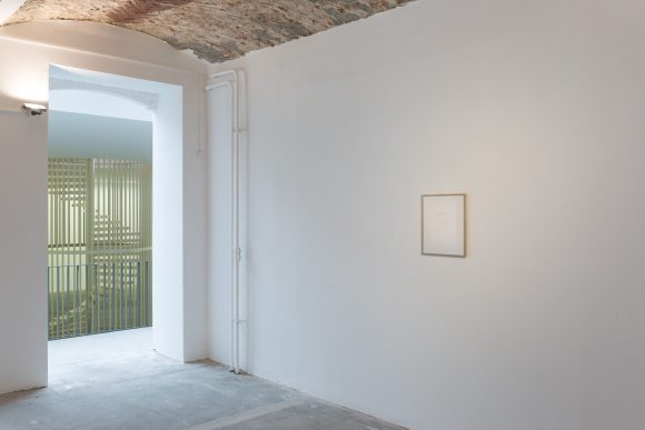 From left to right:  Hanne Lippard, <i>Flesh</i>, 2016, Courtesy the artist and LambdaLambdaLambda, Prishtina Ian Wilson, <i>Time (spoken)</i>, 1982, A typewritten sheet of paper with the text: This work is installed when the word 'Time' is spoken, Signed and numbered by the artist, date of conception: 1982 (unlimited edition), On loan from Jan Mot, Brussels, Collection: Frac Lorraine, Metz, FR; Kröller Müller Museum, Otterlo, NL; Raymond Verbouwens; Jean-Philippe und Françoise Billarant, Paris; Yves Gevaert, Brussels, Installation view KW Institute for Contemporary Art, Berlin 2017, Photo: Frank Sperling