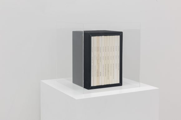 Ian Wilson, <i>Sections 1–57</i>, 1971–1990, Collection of 13 publications entitled Sections, published between 1982–2005, box made by the Artist, Courtesy the artist and Jan Mot, Brussels, Collection: Pedro Barbosa, Installation view KW Institute for Contemporary Art, Berlin 2017, Photo: Frank Sperling