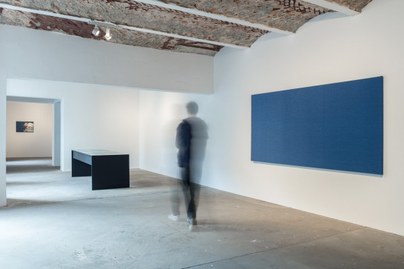 f.l.t.r.: Jeroen de Rijke / Willem de Rooij, Dead Seal, 1996–99; Jeroen de Rijke / Willem de Rooij, Blue Table, 2004, Courtesy the artist; Willem de Rooij, Blue to Blue, 2012; installation view KW Institute for Contemporary Art, 2017, Photo: Frank Sperling