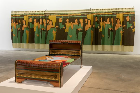 Beatriz González, <i>La muerte del picador</i> (front), 1973, <i>Decoración de Interiores</i> (back), 1981, installation view of the exhibition <i>Retrospective 1965–2017</i>, KW Institute for Contemporary Art, Berlin 2018, Photo: Frank Sperling