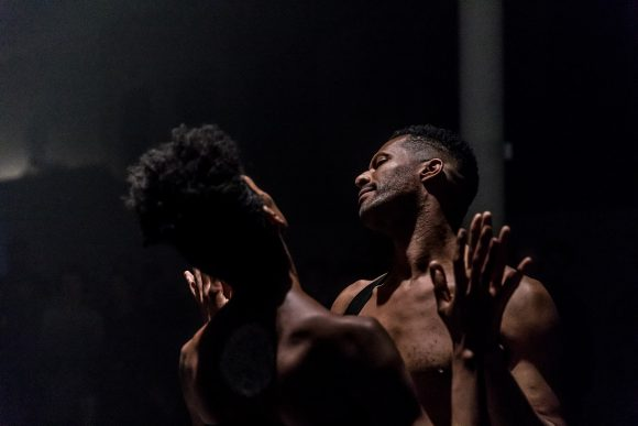 <p>Jimmy Robert, <em>Joie noire</em>, performance with Courtney Henry at KW Institute for Contemporary Art, 2019, Berlin, Courtesy the artist, photo: Frank Sperling</p>