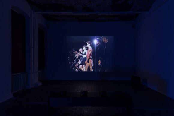 Reza Abdoh, <i>Law of Remains</i>, 1992, video still, installation view of the exhibition <i>Reza Abdoh</i>, KW Institute for Contemporary Art, Berlin, 2019, Courtesy Adam Soch and the Estate of Reza Abdoh, Photo: Frank Sperling
