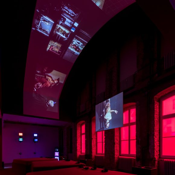 Reza Abdoh, <i>Bogeyman</i>, 1991, video still, installation view of the exhibition <i>Reza Abdoh</i>, KW Institute for Contemporary Art, Berlin, 2019, Courtesy Adam Soch and the Estate of Reza Abdoh, Photo: Frank Sperling