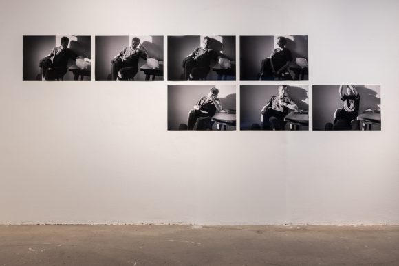 Anna Daučíková, <i>Ground research (sitting)</i>, 1996/2019, 7 b/w-photographs, installation view of the exhibition, KW Institute for Contemporary Art, Berlin, 2019, photo: Frank Sperling