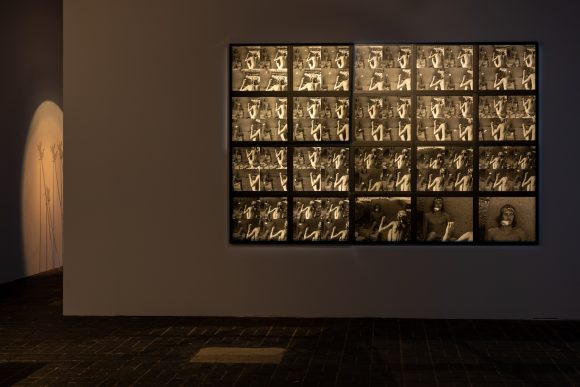 Foreground: Michael Morris, <i>Alex & Rodger, Rodger & Alex</i>, 1970/2005; Background: General Idea, <i>Hands of the Spirit</i>, 1974; Installation view <i>Image Bank</i> at KW Institute for Contemporary Art, Berlin, 2019, Courtesy the Morris/Trasov Archive, Morris and Helen Art Gallery, University of British Columbia (CA), Photo: Frank Sperling