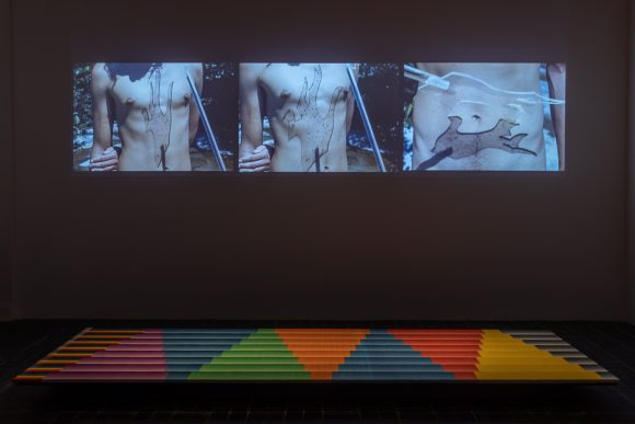 Top: Michael Morris, <i>Colour Research</i>, 1972–74; Bottom: Image Bank, <i>Colour Bars – Monochrome Sets</i>, 1972–73; Installation view <i>Image Bank</i> at KW Institute for Contemporary Art, Berlin, 2019, Courtesy the Morris/Trasov Archive, Morris and Helen Art Gallery, University of British Columbia (CA), Photo: Frank Sperling