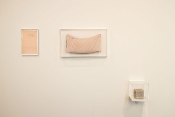 Left: Leonilson, <i>Les moments</i>, 1992; middle: <i>Ninguém</i>, 1992; right: <i>Auto-retrato (sic!)</i>, 1993; Installation view of <i>Leonilson Drawn 1975–1993</i> at KW Institute for Contemporary Art, Berlin 2020; Courtesy Projeto Leonilson; Photo: Frank Sperling
