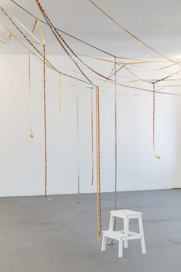 Annette Wehrmann, <i>Luftschlangen</i> (Serpentine Streamers); accompanying program of Judth Hopf: <i>Stepping Stairs</i>; Installation view KW Institute for Contemporary Art, Photo: Frank Sperling
