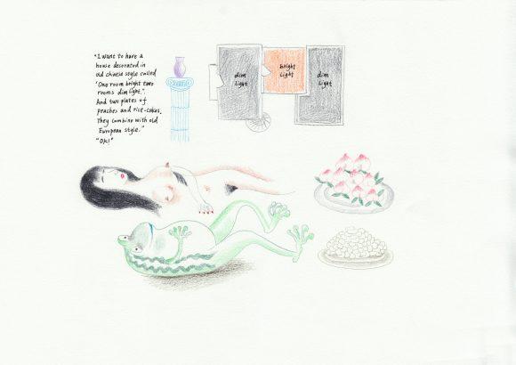 <p>Evelyn Taocheng Wang, <em>Cool Smell Room</em>, 2018, Bunt- und Bleistift auf Aquarellpapier, Courtesy die Künstlerin und Galerie Fons Welters</p>