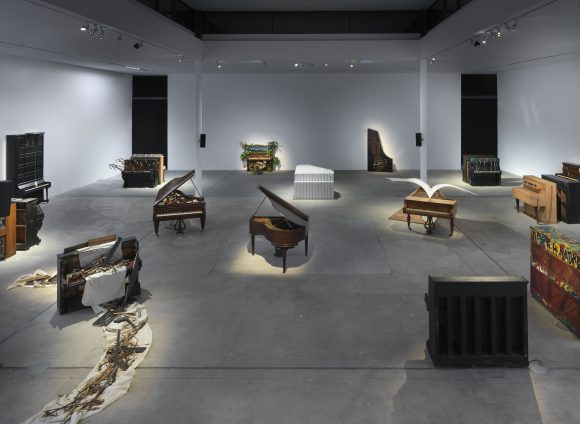 Installation view <i>Pause: Broken Sounds / Remote Music—Prepared Pianos from the Archivio Conz Collection</i> at KW Institute for Contemporary Art, Berlin, 2020, Courtesy Archivio Conz, Photo: Jens Ziehe