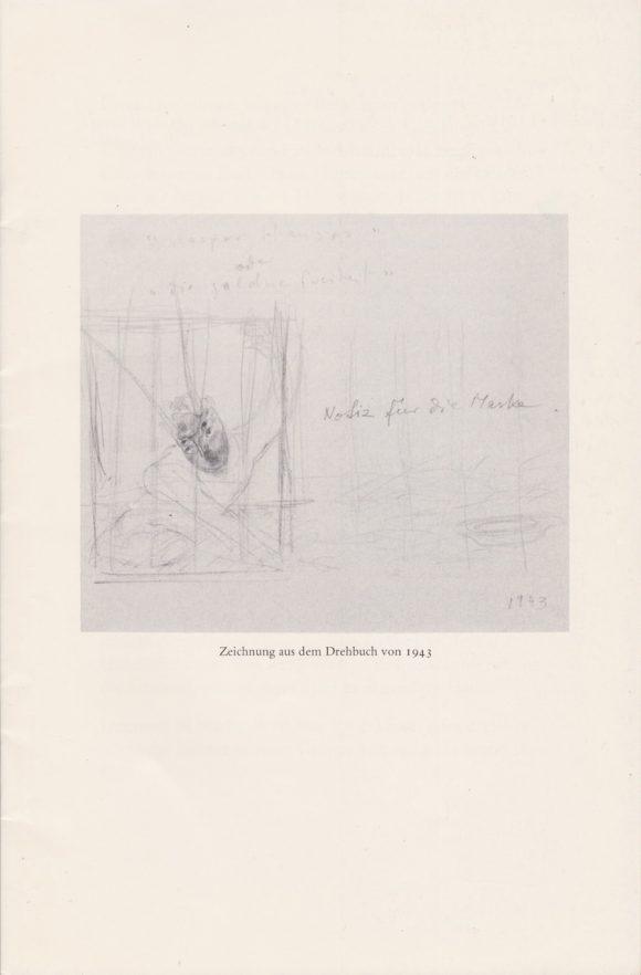 <p>Zeichnung aus dem Drehbuch von Meret Oppenheim aus dem Jahr 1942 (aus <em>Kaspar Hauser oder Die Goldene Freiheit</em>, veröffentlicht im Verlag Gachnang & Stämpfli AG, Bern 1987)</p>