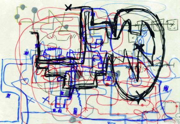 """<p><em>Perspectives in a retrospective</em>, Mindmaps zur Beatriz González-Ausstellung von Schüler*innen der Ruth-Cohn-Oberschule für Sozialwesen im Rahmen der """"kultur_EXTERN_museum"""" Workshops, 2018</p>"""
