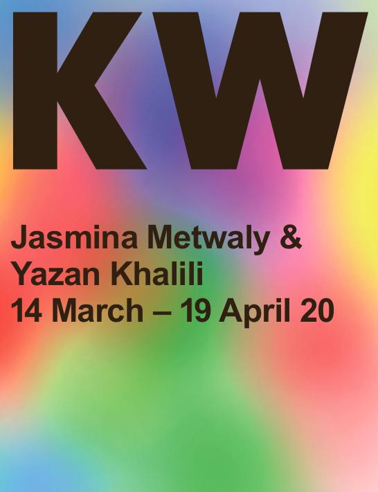 """<p><a href=""""https://www.kw-berlin.de/files/KW_2020_Jasmina_Metwaly_Yazan_Khalili_EN.pdf"""">Exhibition leaflet</a>: Jasmina Metwaly & Yazan Khalili</p>"""