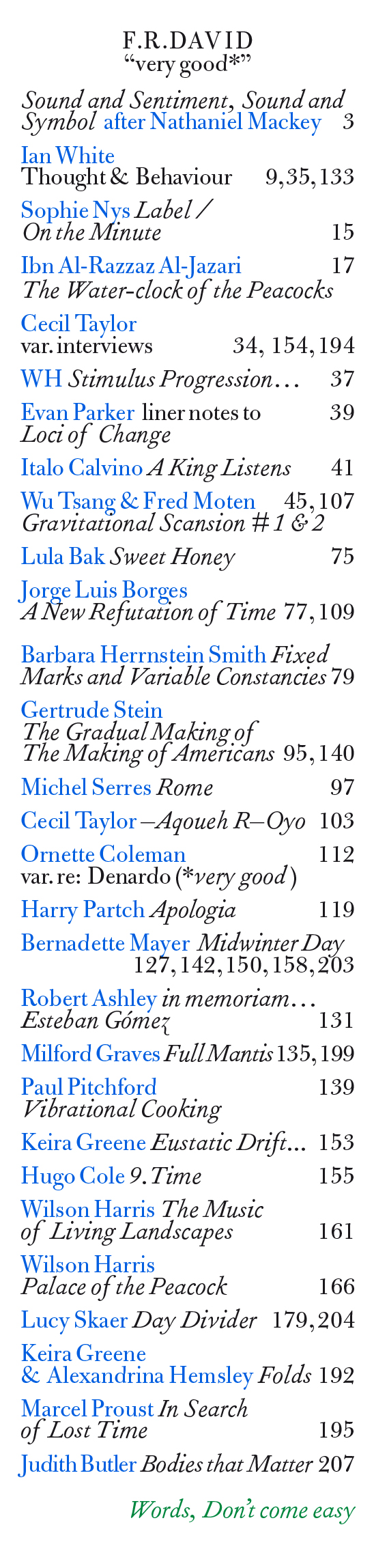 "<p>F.R.DAVID, Index of the 19th issue<em> ""very good*""</em>, 2020</p>"