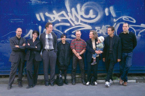 <p>Team of the 1st Berlin Biennale for Contemporary Art (from left to right): Klaus Biesenbach, Ulrike Kremeier, Hans Ulrich Obrist, Nancy Spector, Douglas Gordon, Miriam Wiesel, Jens Hoffmann, Daniel Haaksman; Photo: Jens Ziehe</p>