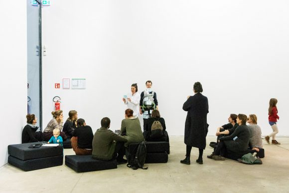 "Birgit Auf der Lauer & Caspar Pauli, <i>GeburtshelferER</i>, 2019, within the framework of the event <a href=""https://www.kw-berlin.de/en/btches-babies/"">B*tches & Babies</a>, KW Institute for Contemporary Art, 2019, Photo: Valerie Schmidt"