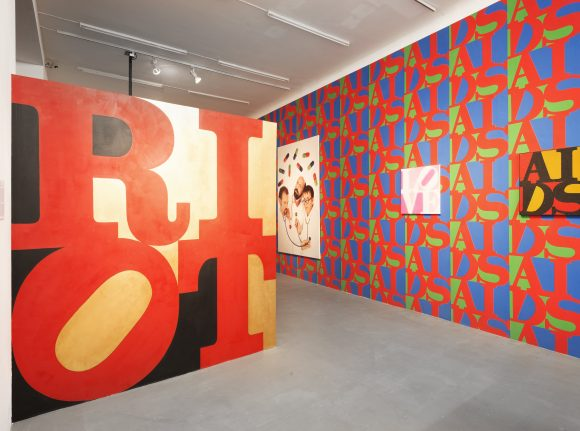 <p>Installation view of the exhibition <em>LOVE AIDS RIOT SEX 1. Kunst Aids Aktivismus 1987–1995</em>, nGbK, curator: Frank Wagner / RealismusStudio / nGbK, Berlin 2013, photo: Uwe Boek</p>