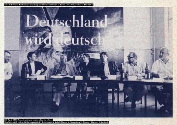 Katharina Sieverding, 30. April 1993 Pressekonferenz in den Kunstwerken Berlin, 2016