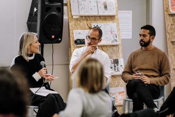 <p>Emily King in conversation with Frederico Duarte and Mohamed Elshahed at <em>Design & Empire</em> <em>[working title]</em> Image courtesy Liverpool Biennial, photo: Jay Chow</p>