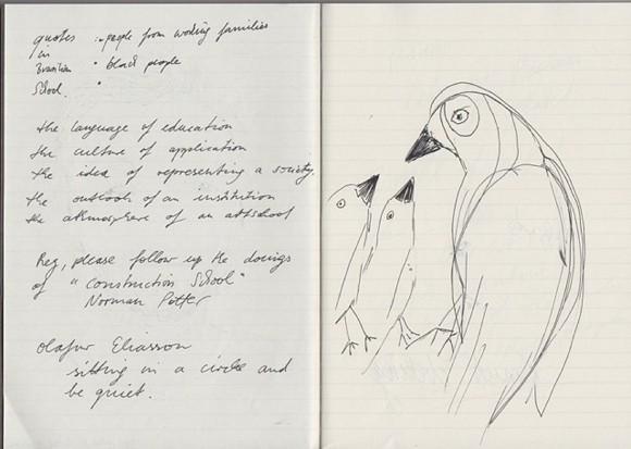 Zeichnung in einem Skizzenbuch, entstanden bei Correspondence, Workshop Teil I an der Kunsthochschule Berlin (Weißensee) - Hochschule für Gestaltung, July 2015