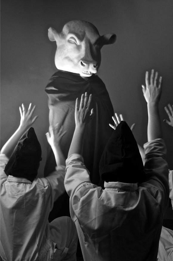 Marcel Dzama, Une Danse des Bouffons (or A Jester's Dance), 2013, Video still, Video projection, black and white, sound, Courtesy David Zwirner, New York/London, Sies + Höke, Düsseldorf, commissioned by Toronto International Film Festival, 2013