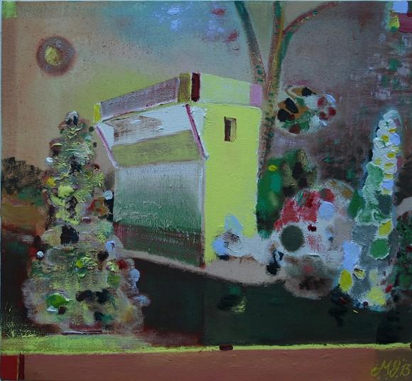 Merlin James, SIGNAL BOX, 2009, 53 x 57 cm, Acryl und Mischtechnik, Courtesy der Künstler<br>
