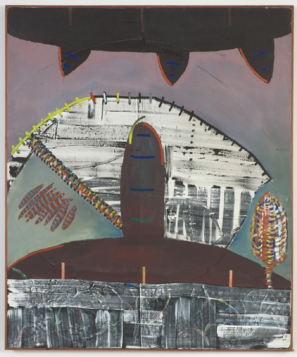 Merlin James, Untitled, 1981, 166 x 139 cm, Acrylic and mixed media, Courtesy the artist<br>