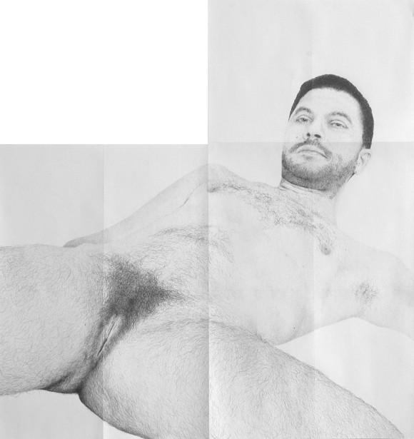 Michael Müller<br>Selbstbildnis, 2015 (Detail)<br>Bleistift auf Papier, Marmor, Farbe <br>Courtesy Michael Müller