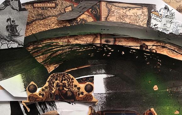 Olga Lewicka, Ohne Titel, 2013, Papier, Acryl, Collage auf Karton, 20 cm x 32 cm<br>