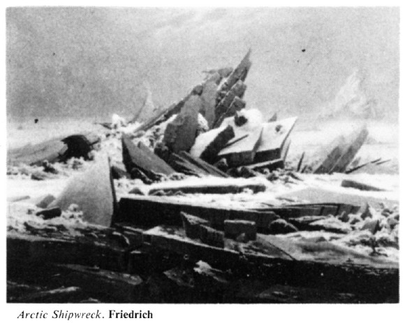 Reproduction of Caspar David Friedrich's Das Eismeer (Sea of Ice) in 'Key Dates in Art History', Phaidon 1979 <br>