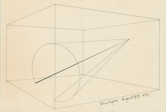 <p>Anthony McCall, <em>Solid Light</em>, 1973, Installation drawing for 'Line Describing a Cone', Ink on paper, © Anthony McCall, Courtesy the artist and Sprüth Magers</p>