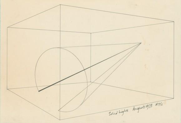 <p>Anthony McCall, <em>Solid Light</em>, 1973, Installationszeichnung für 'Line Describing a Cone', Tusche auf Papier, © Anthony McCall, Courtesy der Künstler und Sprüth Magers</p>