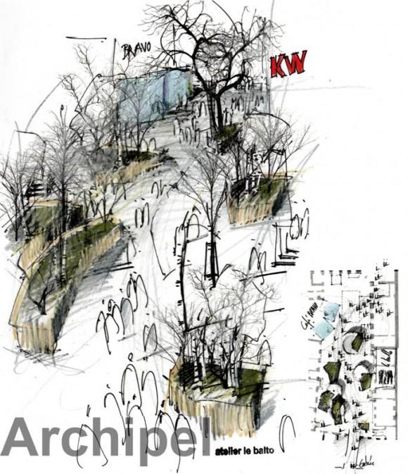 <p>atelier le balto, Sketch for <em>Archipel </em>during winter, 2017, Courtesy atelier le balto</p>