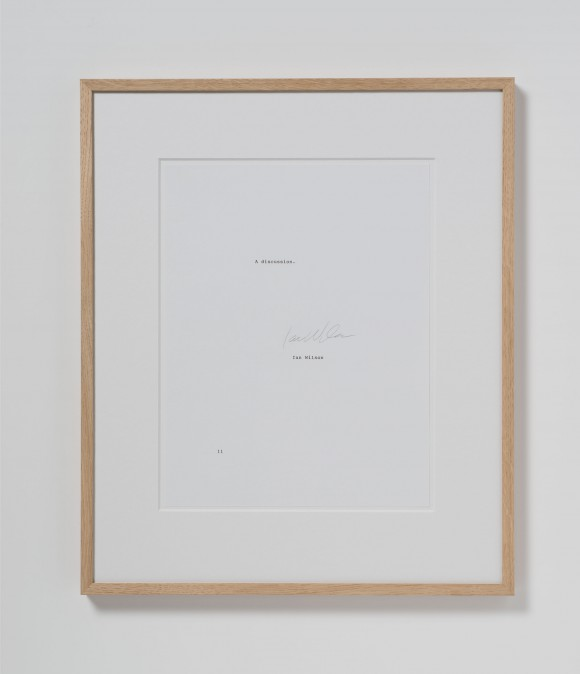 "<p>Ian Wilson, <em>A Discussion</em>, 1977, Typewritten sheet of paper with the text ""A discussion"" numbered and signed by the artist; 27,9 x 21,6 cm ( Paper), dimensions: 43 x 34 x 2 cm (Frame), Unlimited edition</p>"