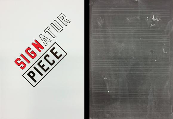 Michael Müller, Signatur, 2015, Siebdruck auf Schieferplatten 2-teilig, je 40 x 28 cm Limitierte Edition von 23, Preis: 1.200 Euro