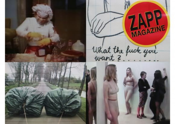 """<p>Video stills from the Zapp Magazine's archive, from top left to bottom right:Paul McCarthy, <em>Bossy Burger,</em> 1991;Rita Ackermann,<em>Zapp Magazine #5,</em> 1995, cover detail;Klaas Kloosterboer, <em>Ballast,</em> 2001; Vanessa Beecroft, performance during groupshow """"ID"""" at Van Abbemuseum, Eindhoven (NL), 1996</p>"""