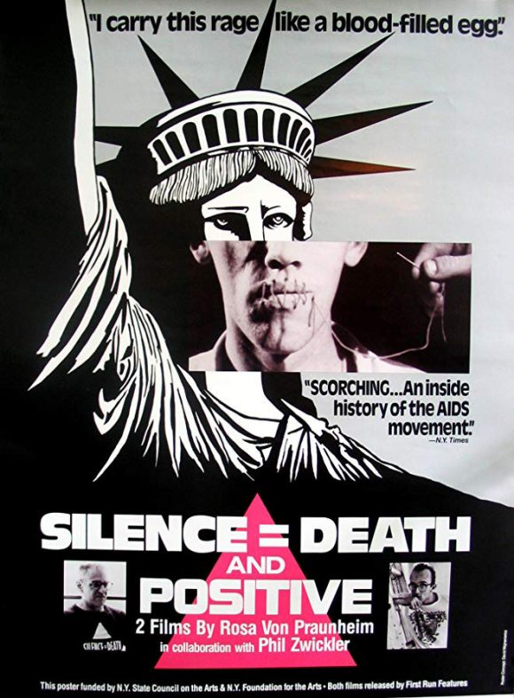 <p><em>Die Aids-Trilogie: Schweigen = Tod – Künstler in New York kämpfen gegen AIDS,</em>Regie: Rosa von Praunheim, 1990, Filmplakat, Süddeutscher Rundfunk (SDR)</p> <p></p>